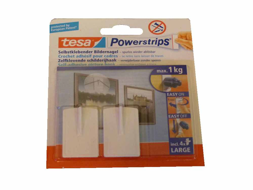 2x tesa powerstrips bildern gel je pack 2 n gel 4 strips large 58031 max 1 kg ebay. Black Bedroom Furniture Sets. Home Design Ideas